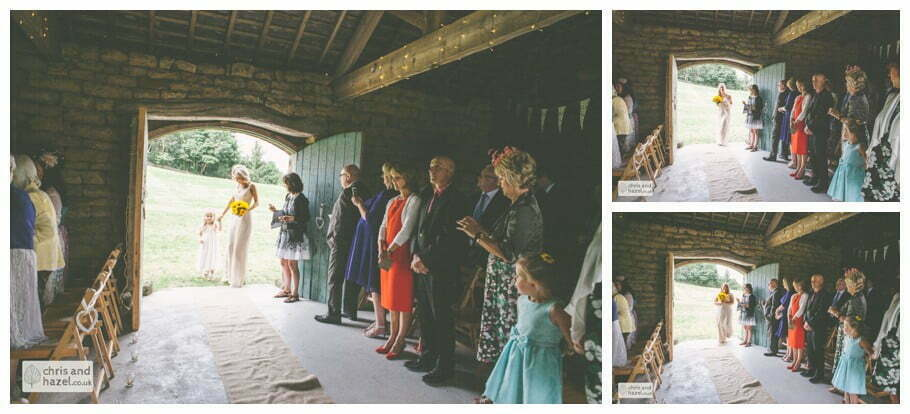 bridesmaids humanist wedding ceremony in barn documentary Wedding Photographer Harrogate Wedding Photography Braisty Estate by Chris and Hazel Wedding Photography Jonny Dunn Stef Brown