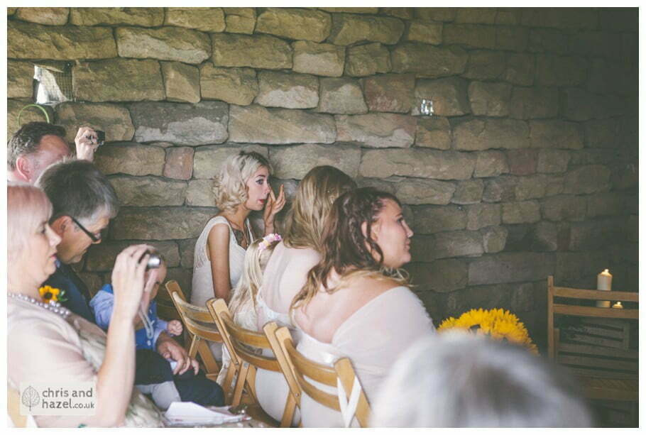 bridesmaid crying reaction humanist wedding ceremony in barn documentary Wedding Photographer Harrogate Wedding Photography Braisty Estate by Chris and Hazel Wedding Photography Jonny Dunn Stef Brown