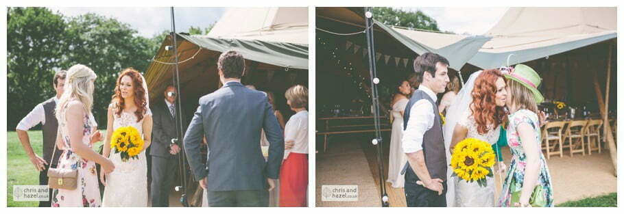 bride and groom receiving line papkata tipi teepee rustic wedding theme hessian documentary Wedding Photographer Harrogate Wedding Photography Braisty Estate by Chris and Hazel Wedding Photography Jonny Dunn Stef Brown
