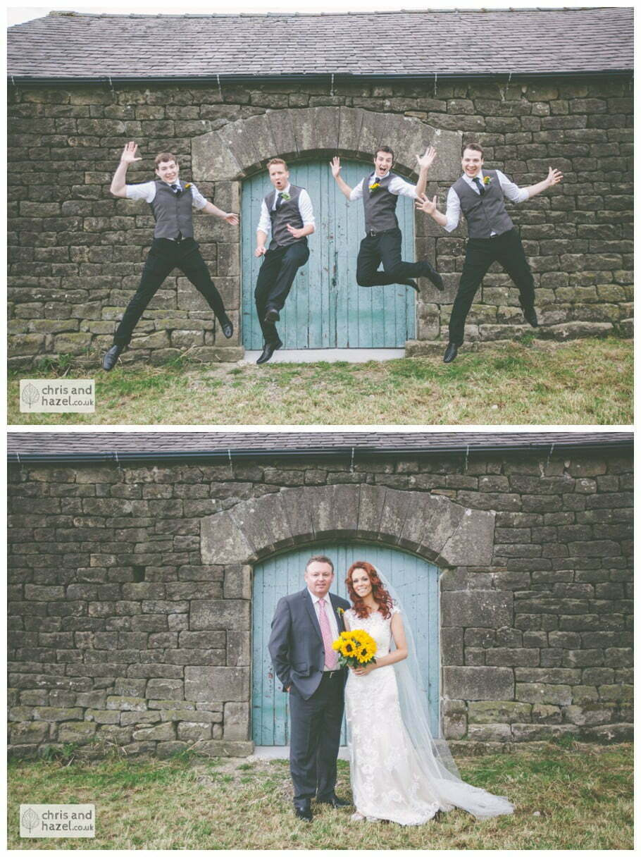 fun jumping action ushers groom groomsmen jumping wedding family formal photographs field barn rustic wedding theme hessian documentary Wedding Photographer Harrogate Wedding Photography Braisty Estate by Chris and Hazel Wedding Photography Jonny Dunn Stef Brown