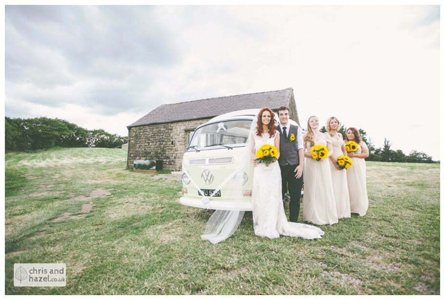 bride and groom with vw camper van wedding car rustic wedding theme hessian documentary Wedding Photographer Harrogate Wedding Photography Braisty Estate by Chris and Hazel Wedding Photography Jonny Dunn Stef Brown