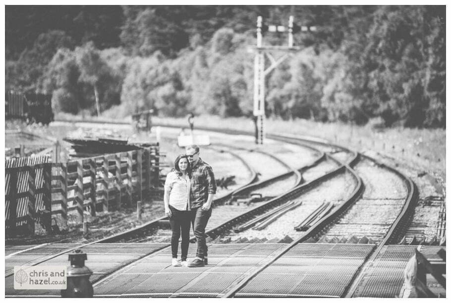 Levisham train station pre wedding engagement Levisham Wedding Photographer Yorkshire Wedding Photography North Yorkshire by Chris and Hazel Wedding Photography Ross Laurelin Matulis
