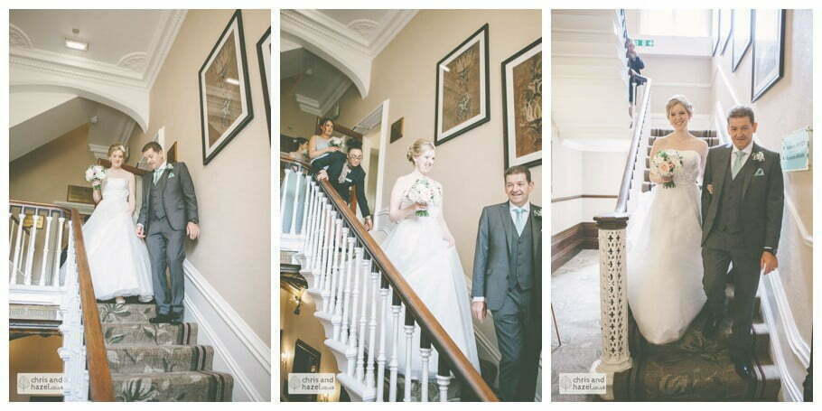 bride and father walking down stairs kenwood hall documentary Sheffield Wedding Photographer Kenwood Hall Wedding Photography Sheffield by Chris and Hazel Wedding Photography Glen Briddock Emily Shaw
