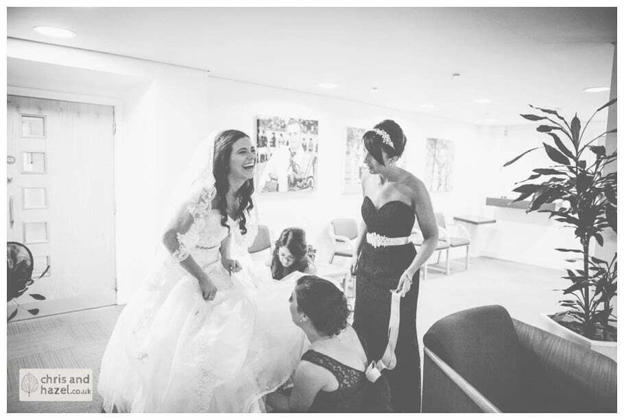 bride with bridesmaids bridal preparations documentary Hull Wedding Photographer Bishop Burton College Wedding Photography Hull by Chris and Hazel Wedding Photography Ross laurelin Matulis