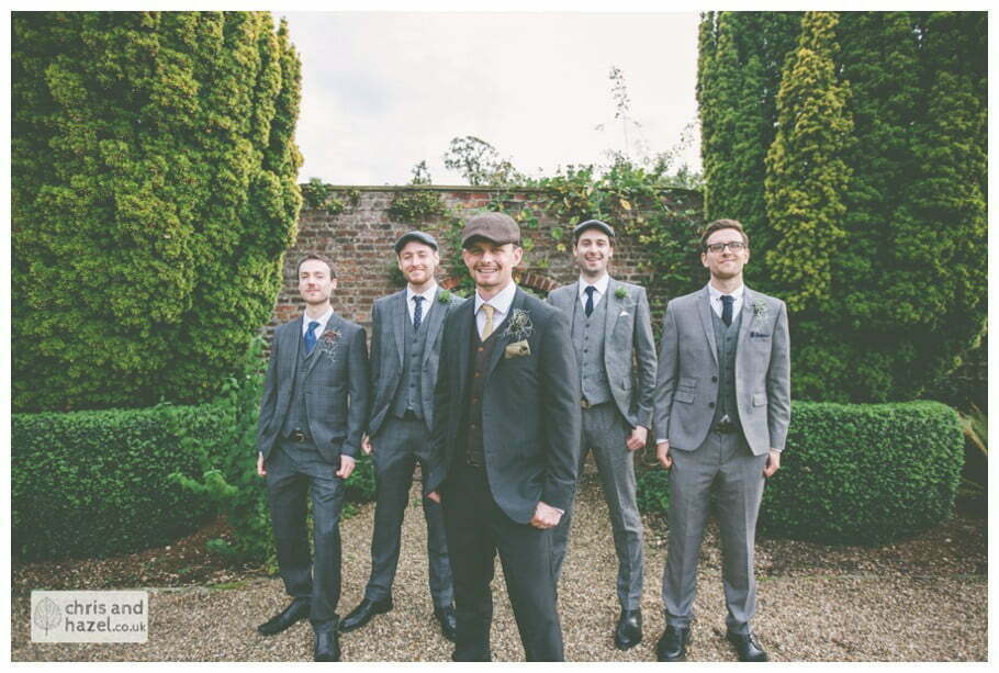 groom with groomsmen ushers formal portrait documentary Hull Wedding Photographer Bishop Burton College Wedding Photography Hull by Chris and Hazel Wedding Photography Ross laurelin Matulis