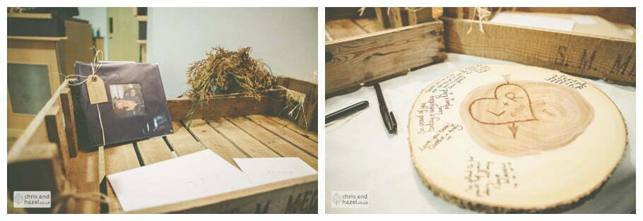wedding guest book and wooden log sign documentary Hull Wedding Photographer Bishop Burton College Wedding Photography Hull by Chris and Hazel Wedding Photography Ross laurelin Matulis