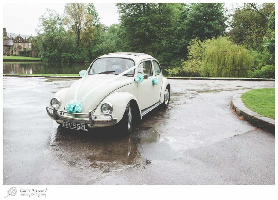 wedding car, vw beetle, vw i300, volkswagen beetle wedding car, documentary wedding photography, Keighley ,Wedding Photographer, East Riddlesden Hall, Wedding Photography, Chris and Hazel Wedding Photography, Craig beasley, Stephanie Stubbs,