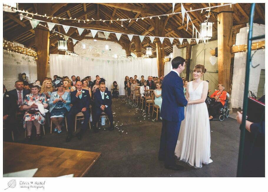 bride and groom, wedding ceremony, barn, documentary wedding photography, Keighley ,Wedding Photographer, East Riddlesden Hall, Wedding Photography, Chris and Hazel Wedding Photography, Craig beasley, Stephanie Stubbs,