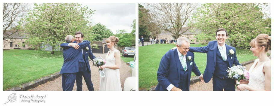 groom with father of bride, groom, father of bride, documentary wedding photography, Keighley ,Wedding Photographer, East Riddlesden Hall, Wedding Photography, Chris and Hazel Wedding Photography, Craig beasley, Stephanie Stubbs,