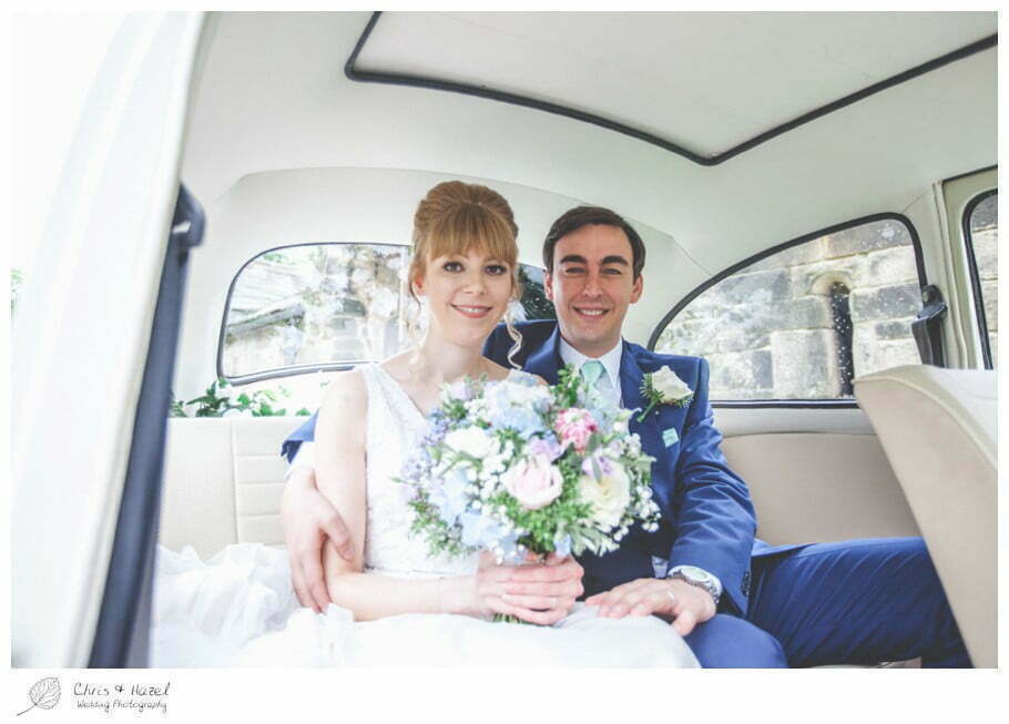 bride and groom in wedding car, bride, groom, wedding car, vw i300, documentary wedding photography, Keighley ,Wedding Photographer, East Riddlesden Hall, Wedding Photography, Chris and Hazel Wedding Photography, Craig beasley, Stephanie Stubbs,