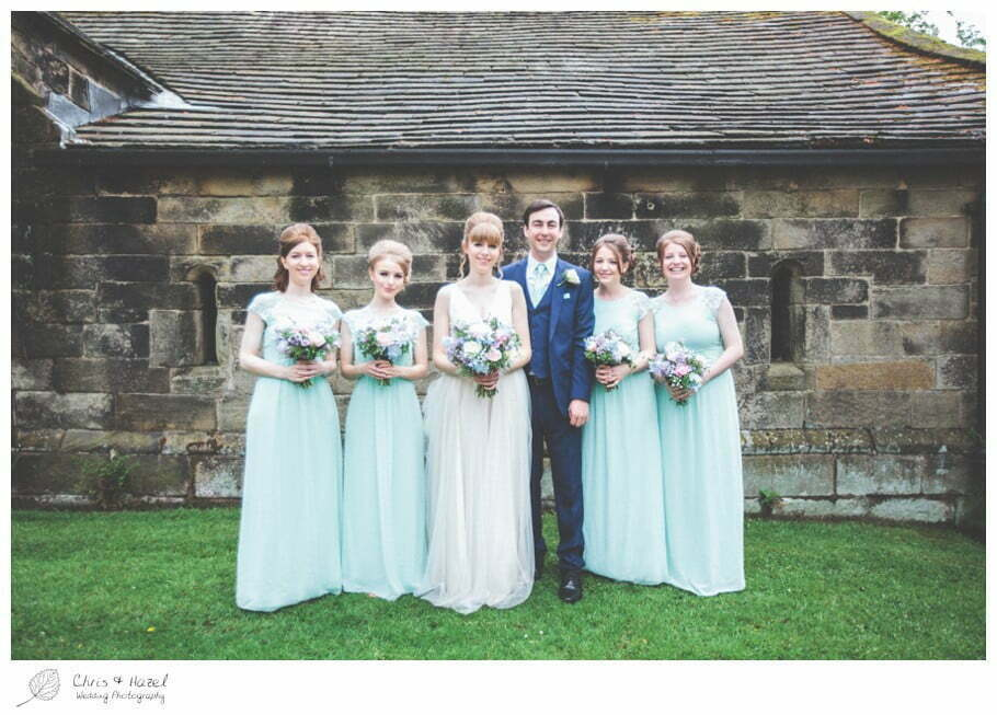 bride and groom with bridesmaids, bride, groom, bridesmaids, documentary wedding photography, Keighley ,Wedding Photographer, East Riddlesden Hall, Wedding Photography, Chris and Hazel Wedding Photography, Craig beasley, Stephanie Stubbs,