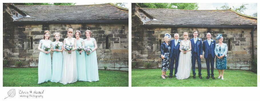 bride and groom with bridesmaids and family, formal wedding photographs, bride, groom, bridesmaids, documentary wedding photography, Keighley ,Wedding Photographer, East Riddlesden Hall, Wedding Photography, Chris and Hazel Wedding Photography, Craig beasley, Stephanie Stubbs,