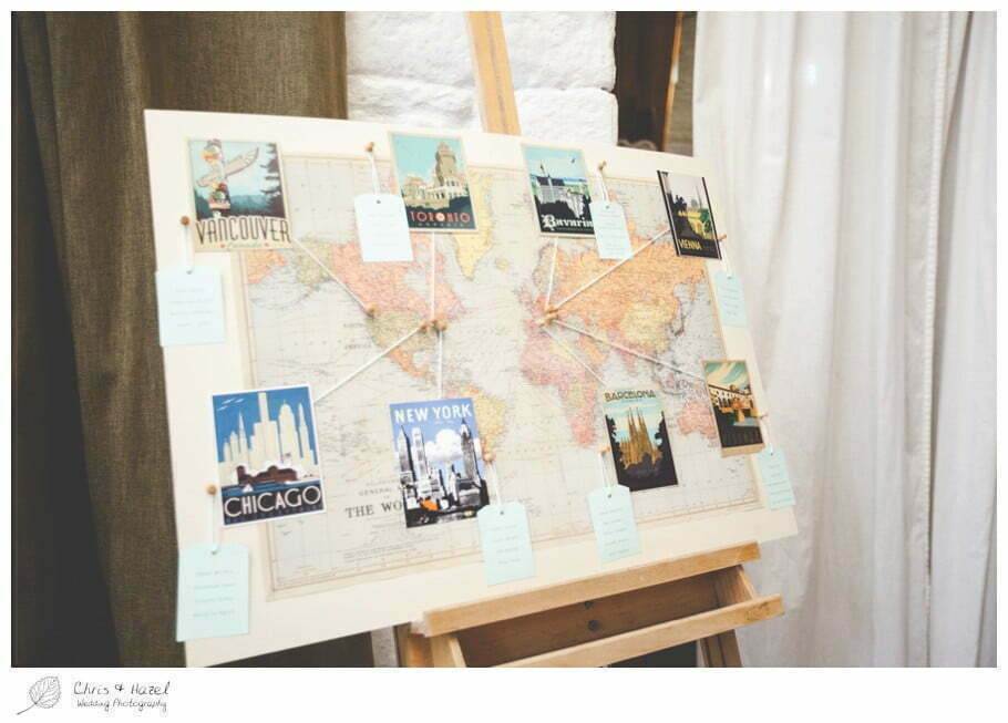 table plan, atlas, map, round the world, barn wedding breakfast, rustic, vintage, documentary wedding photography, Keighley ,Wedding Photographer, East Riddlesden Hall, Wedding Photography, Chris and Hazel Wedding Photography, Craig beasley, Stephanie Stubbs,