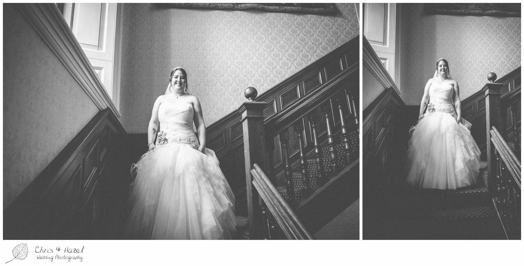 bride walking down stairs, bagden hall wedding venue, documentary wedding photography, denny dale, huddersfield, Wedding Photographer, Bagden Hall, Wedding Photography, Chris and Hazel Wedding Photography, Alex tomenson, Vicky hunt