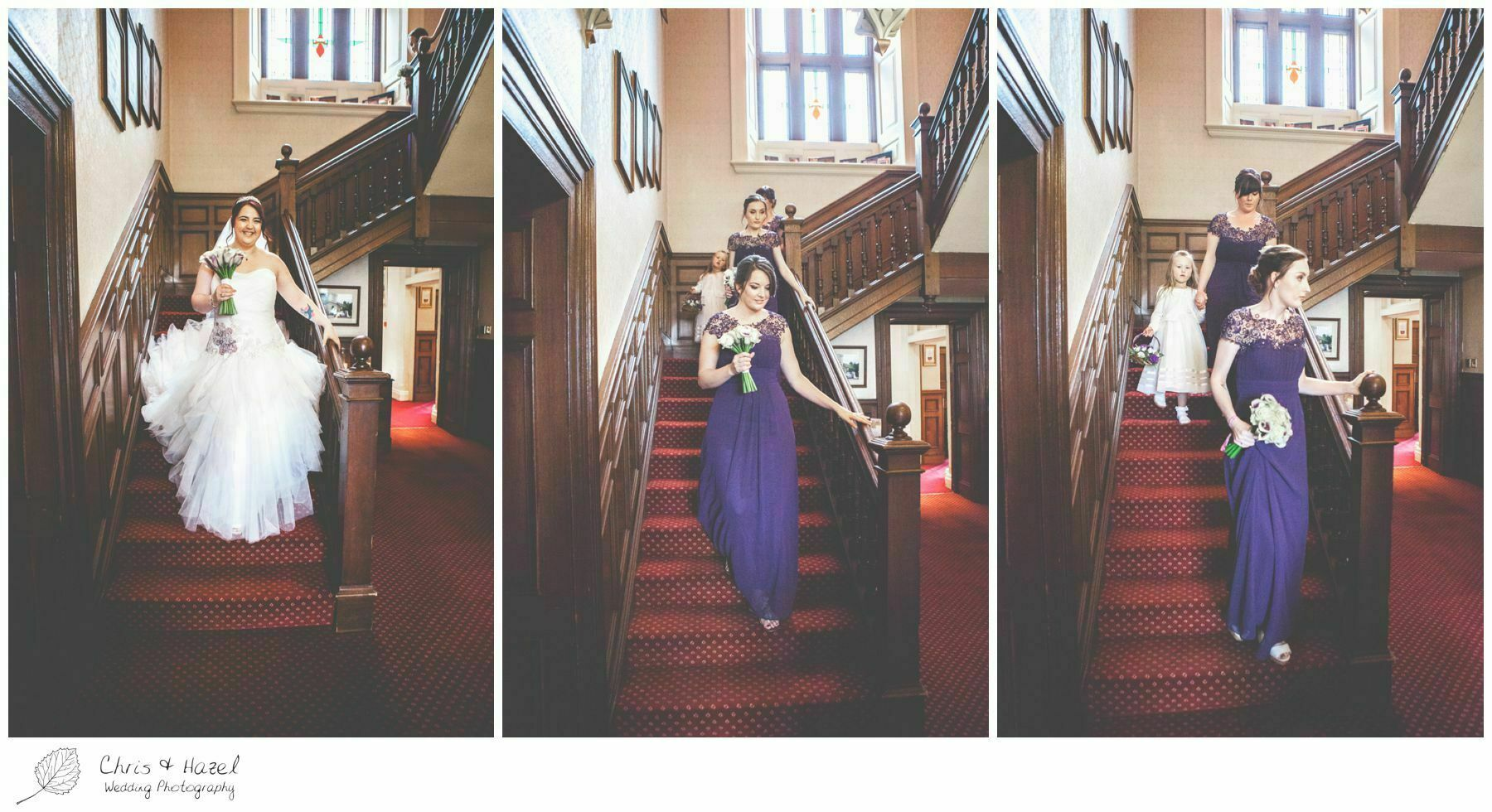 bride and bridesmaids walking down stairs, bagden hall wedding venue, documentary wedding photography, denny dale, huddersfield, Wedding Photographer, Bagden Hall, Wedding Photography, Chris and Hazel Wedding Photography, Alex tomenson, Vicky hunt