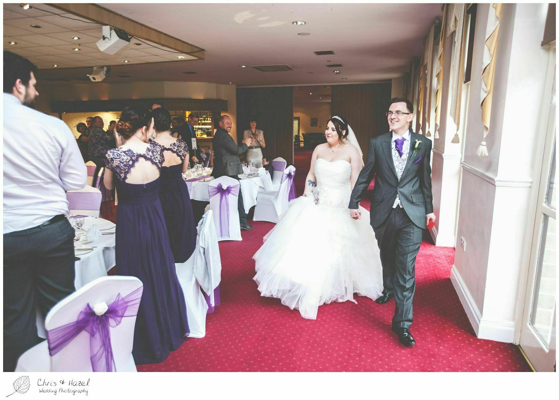 bride and groom entering for dinner, bagden hall wedding venue, documentary wedding photography, denny dale, huddersfield, Wedding Photographer, Bagden Hall, Wedding Photography, Chris and Hazel Wedding Photography, Alex tomenson, Vicky hunt