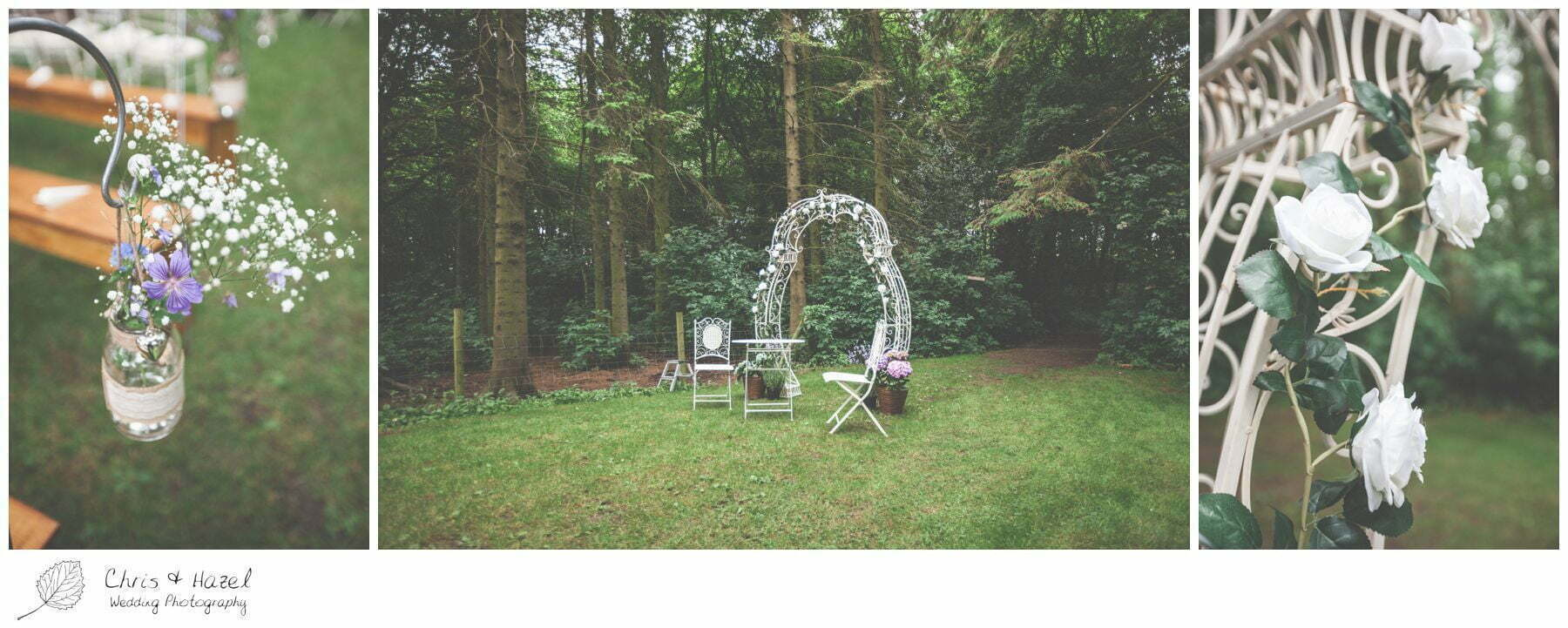 flower arch, woodland wedding, eco wedding, love letters, wedding, Eccup Wedding Photographer, Lineham Farm, Wedding Photography Leeds, Chris and Hazel Wedding Photography, Richard Wyatt, Laura Kelly