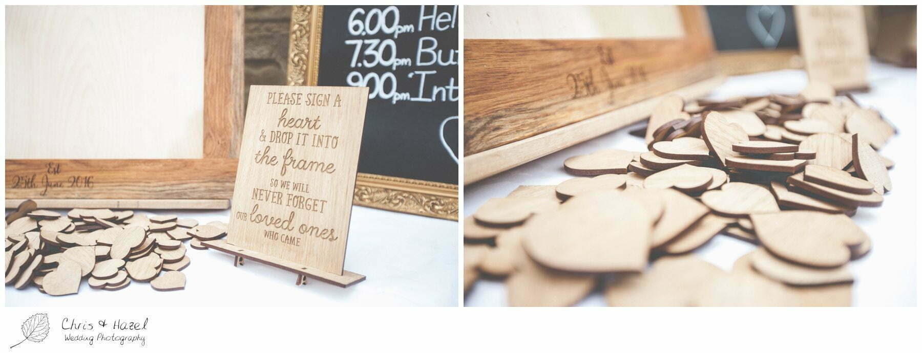 wooden heart frame guestbook alternative, eco wedding, love letters, wedding, Eccup Wedding Photographer, Lineham Farm, Wedding Photography Leeds, Chris and Hazel Wedding Photography, Richard Wyatt, Laura Kelly