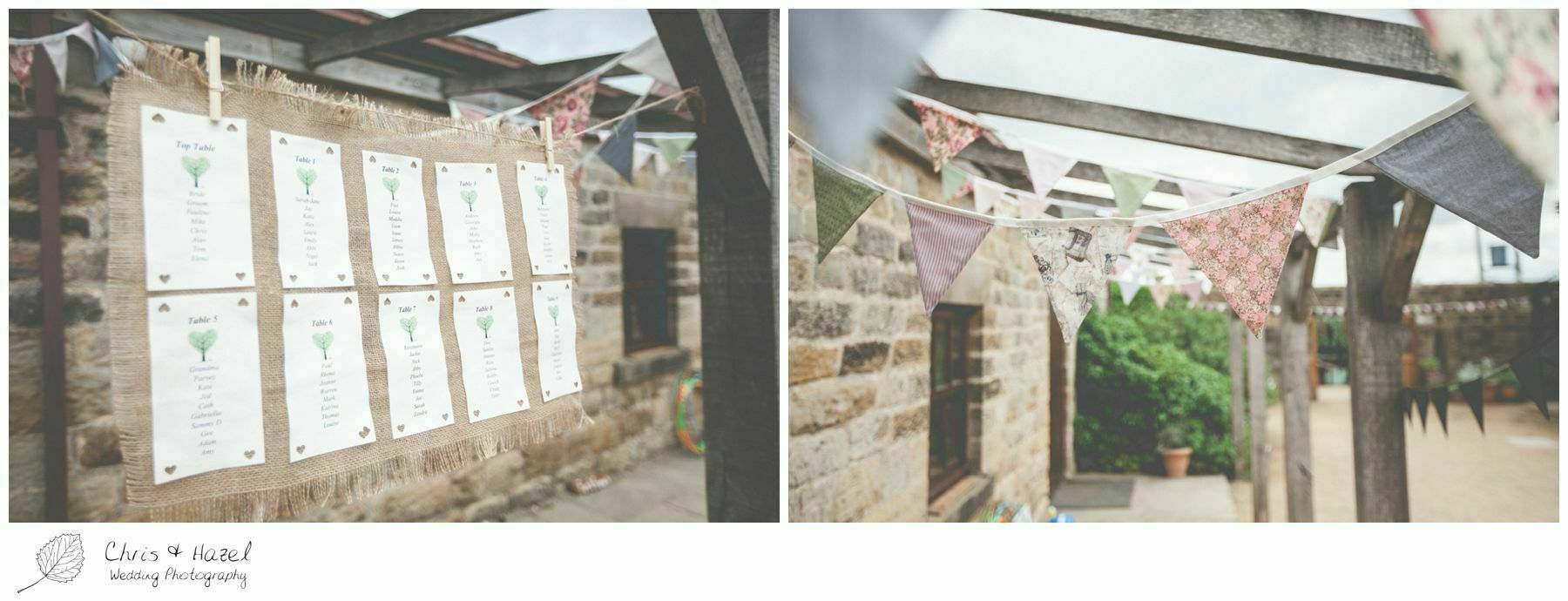 wedding bunting, alternative seating plan, hessian, eco wedding, love letters, wedding, Eccup Wedding Photographer, Lineham Farm, Wedding Photography Leeds, Chris and Hazel Wedding Photography, Richard Wyatt, Laura Kelly