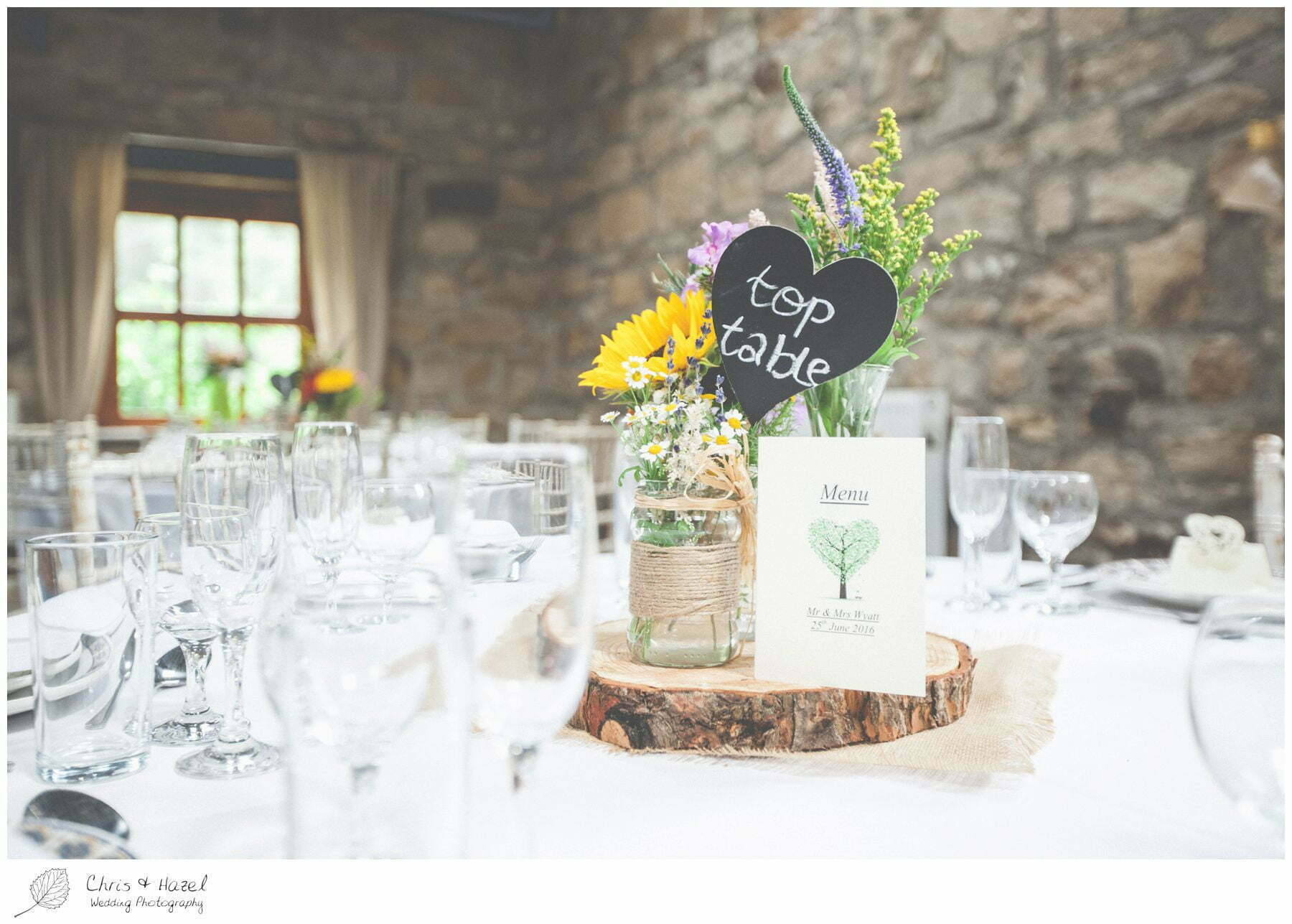 wedding table logs, woodland table decoration, wood wedding centre piece, woodland wedding, eco wedding, love letters, wedding, Eccup Wedding Photographer, Lineham Farm, Wedding Photography Leeds, Chris and Hazel Wedding Photography, Richard Wyatt, Laura Kelly