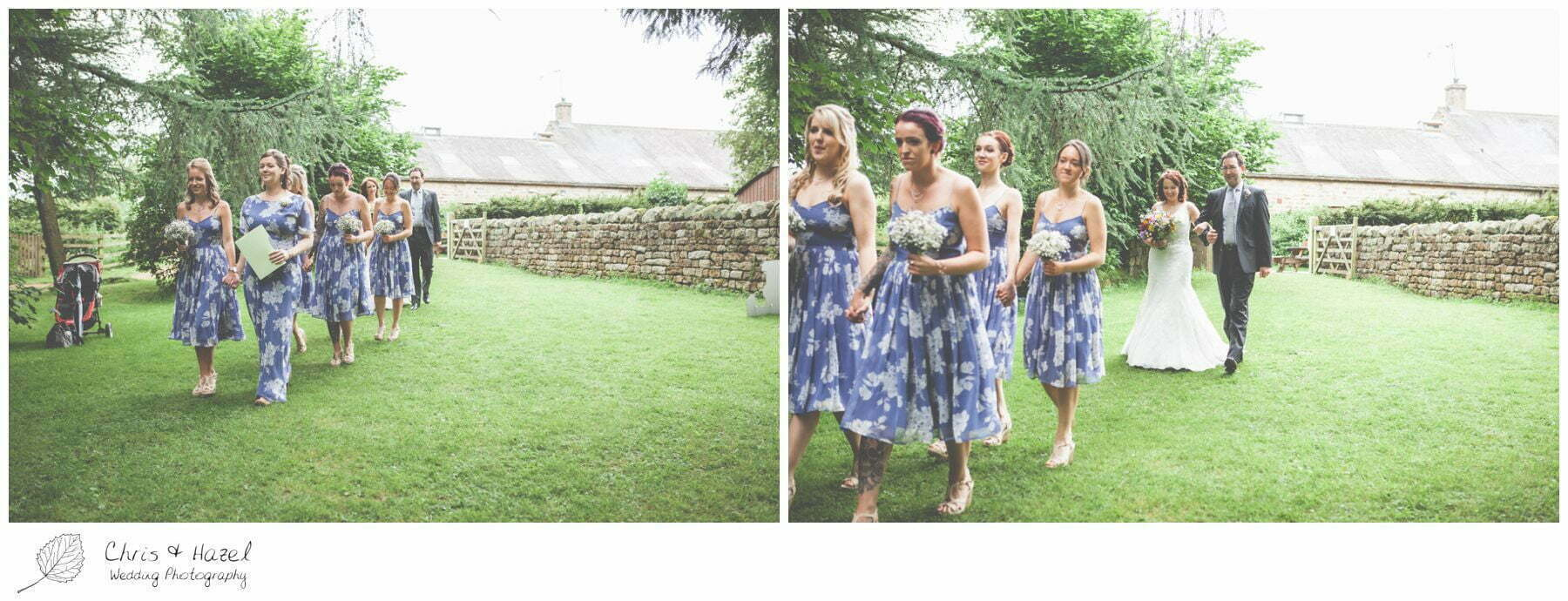 floral bridesmaid dresses, woodland, forest, ceremony, outdoor, forest wedding, woodland wedding, eco wedding, love letters, wedding, Eccup Wedding Photographer, Lineham Farm, Wedding Photography Leeds, Chris and Hazel Wedding Photography, Richard Wyatt, Laura Kelly