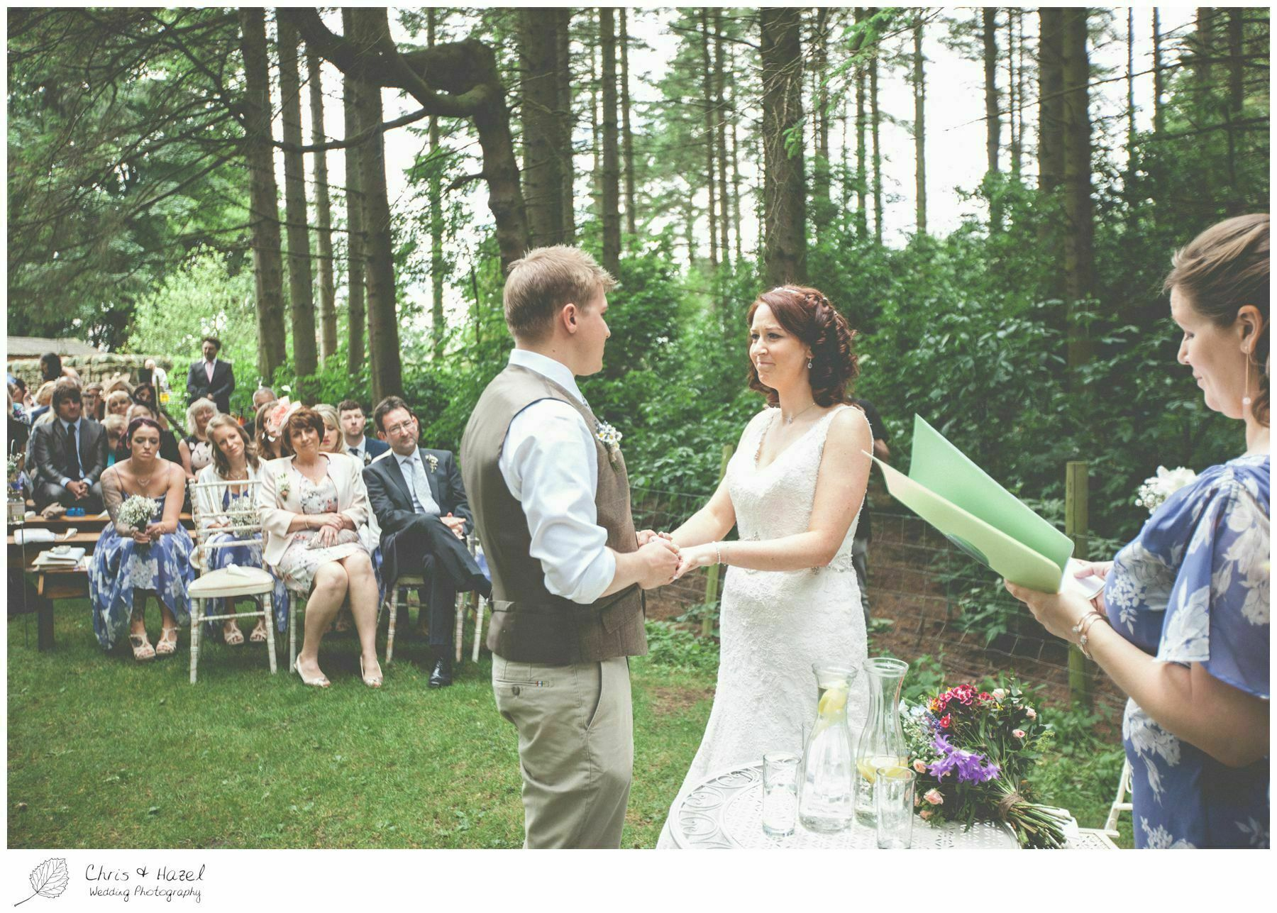 ring exchange, vows, woodland ceremony, woodland, forest, ceremony, outdoor, forest wedding, woodland wedding, eco wedding, love letters, wedding, Eccup Wedding Photographer, Lineham Farm, Wedding Photography Leeds, Chris and Hazel Wedding Photography, Richard Wyatt, Laura Kelly
