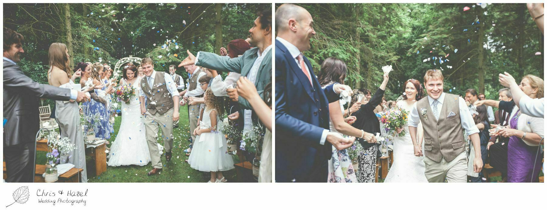 confetti, woodland ceremony, woodland, forest, ceremony, outdoor, forest wedding, woodland wedding, eco wedding, love letters, wedding, Eccup Wedding Photographer, Lineham Farm, Wedding Photography Leeds, Chris and Hazel Wedding Photography, Richard Wyatt, Laura Kelly