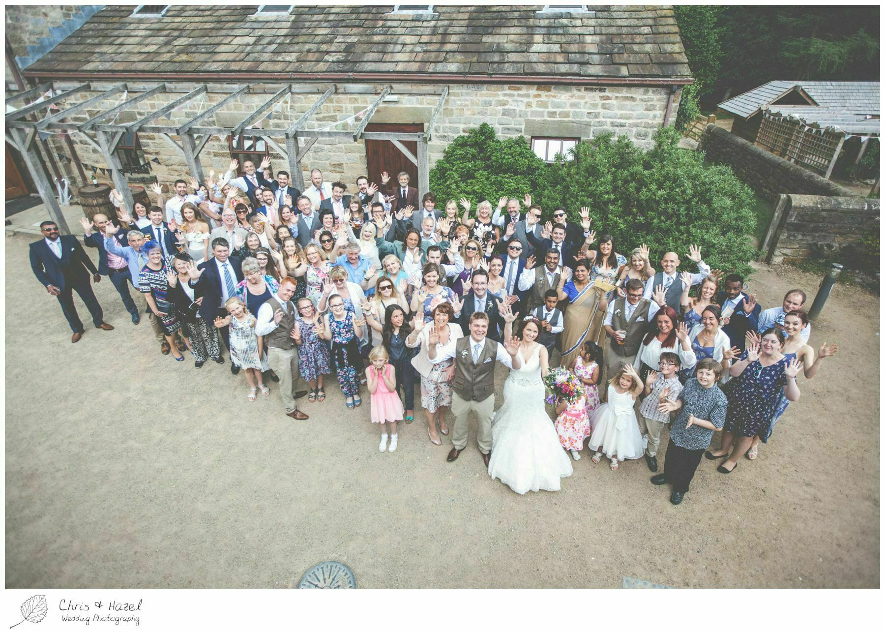 whole wedding party group shot, eco wedding, wedding, Eccup Wedding Photographer, Lineham Farm, Wedding Photography Leeds, Chris and Hazel Wedding Photography, Richard Wyatt, Laura Kelly