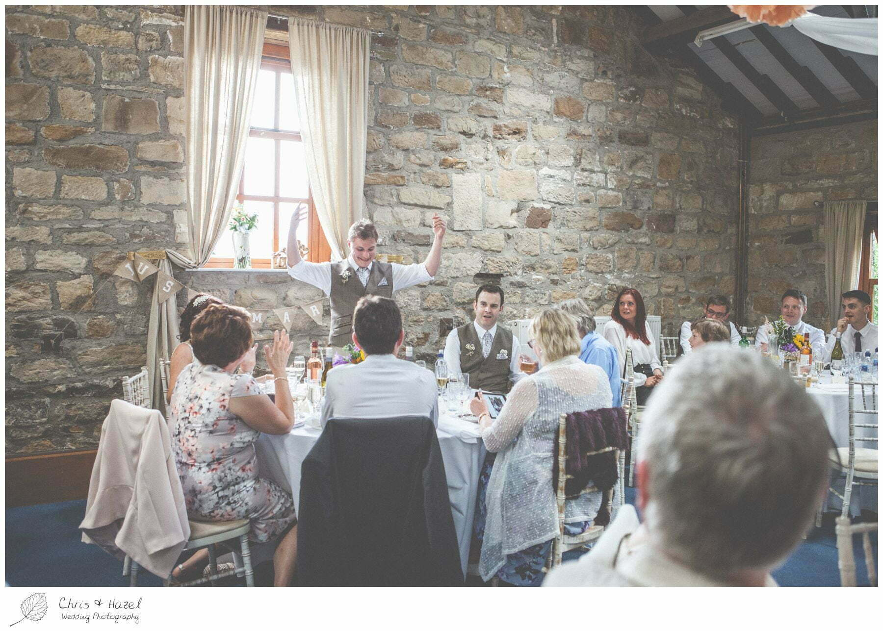 groom speech, wedding breakfast barn, wood wedding theme, eco wedding, love letters, wedding, Eccup Wedding Photographer, Lineham Farm, Wedding Photography Leeds, Chris and Hazel Wedding Photography, Richard Wyatt, Laura Kelly