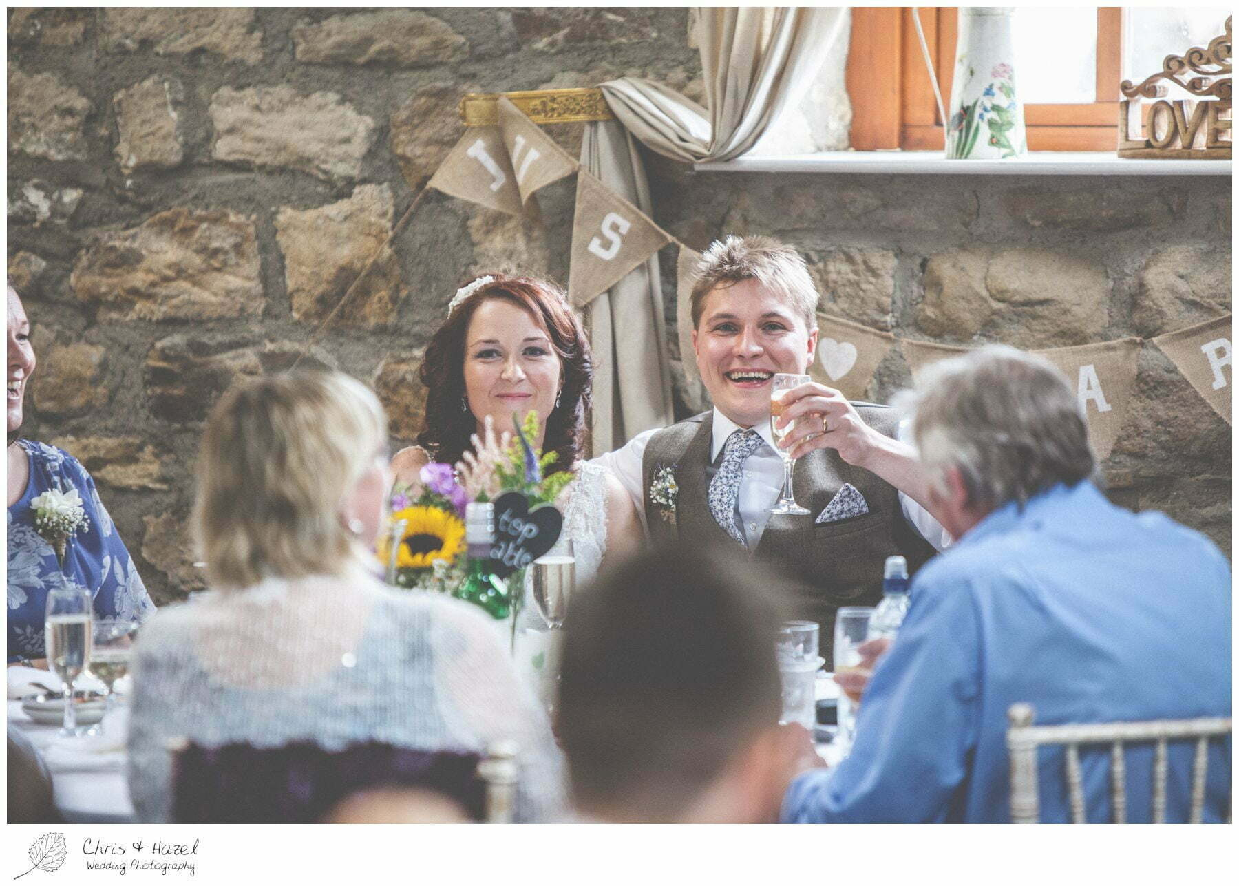 bride and groom speech, wedding breakfast barn, wood wedding theme, eco wedding, love letters, wedding, Eccup Wedding Photographer, Lineham Farm, Wedding Photography Leeds, Chris and Hazel Wedding Photography, Richard Wyatt, Laura Kelly