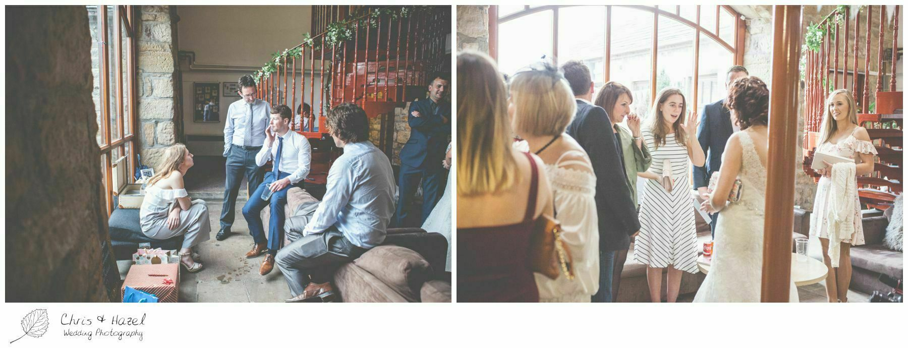 Guests mingling, barn, wood wedding theme, eco wedding, love letters, wedding, Eccup Wedding Photographer, Lineham Farm, Wedding Photography Leeds, Chris and Hazel Wedding Photography, Richard Wyatt, Laura Kelly