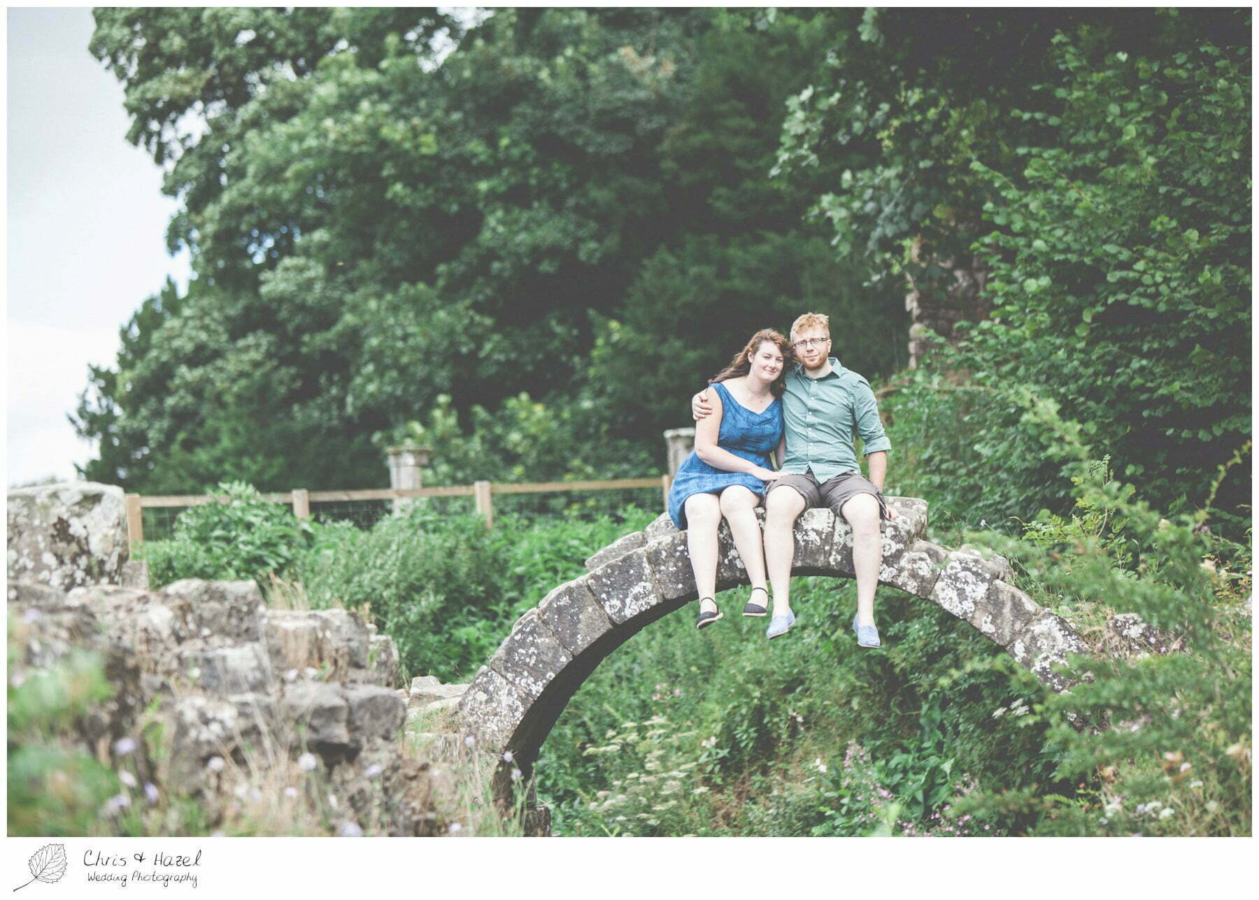 bridge, engagement, dogs, Fountains abbey national trust, Rippon, Fountains Abbey, Pre Wedding Photography Yorkshire, Chris and Hazel Wedding Photography, Sam Nicholson, Emily Nunwick,