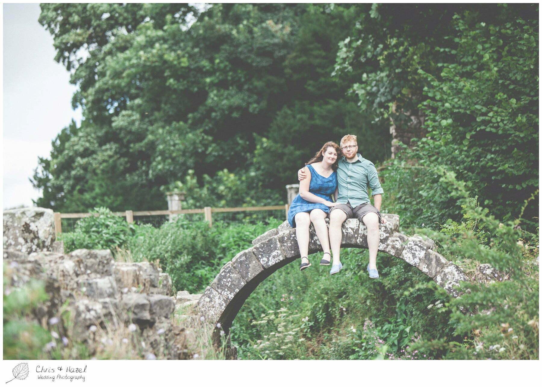 bridge, engagement, dogs, Fountains abbey national trust, Rippon, Fountains Abbey, Pre Wedding Photography Yorkshire, Chris and Hazel Wedding Photography, Sam Nicholson, Emily Nunwick,