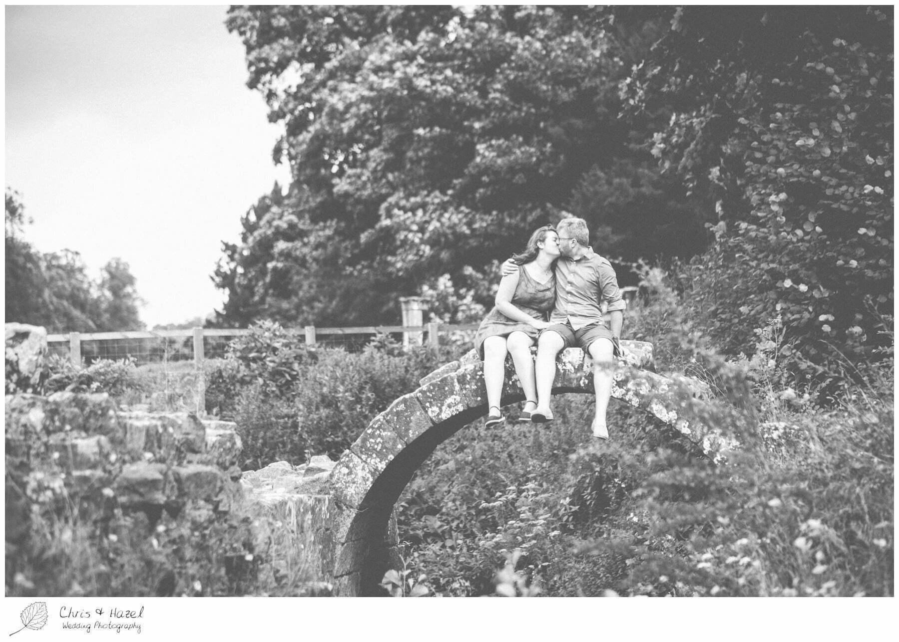 kissing bridge, engagement, dogs, Fountains abbey national trust, Rippon, Fountains Abbey, Pre Wedding Photography Yorkshire, Chris and Hazel Wedding Photography, Sam Nicholson, Emily Nunwick,