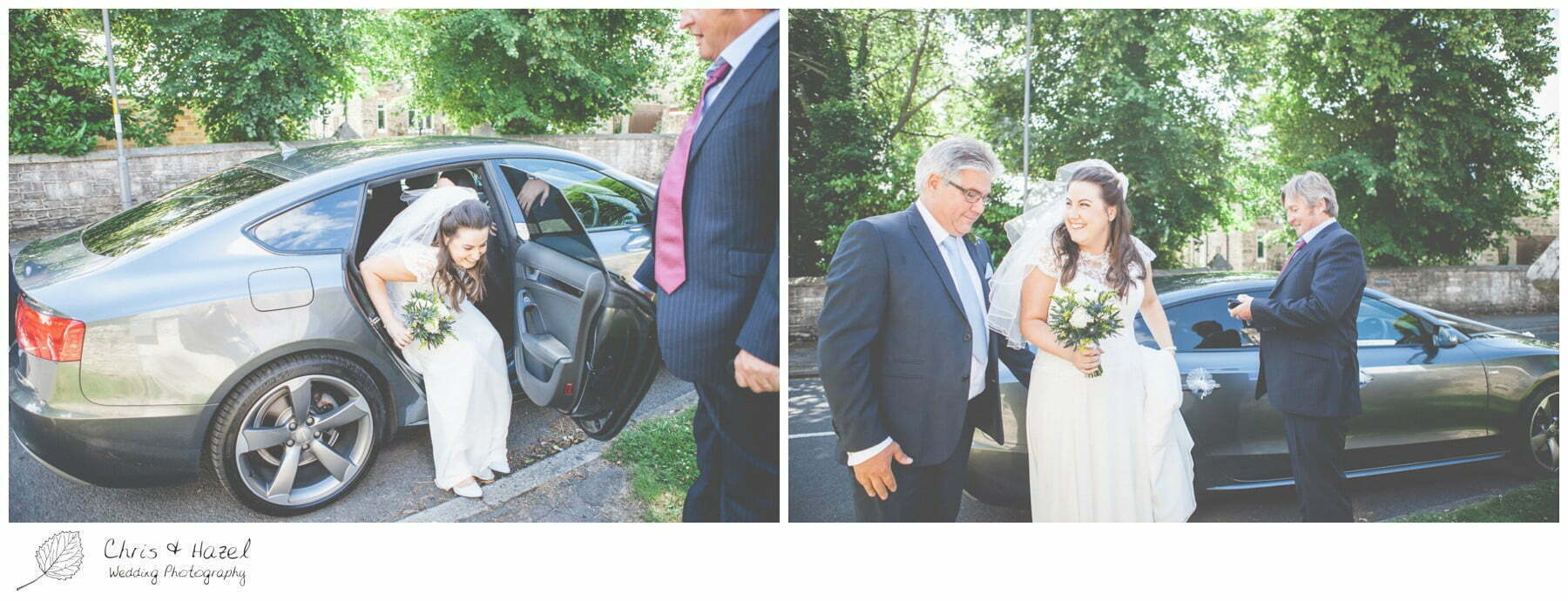 bride getting out of wedding car with father, st marys church, wedding, south milford Wedding Photographer, the engine shed, Wedding Photography wetherby, Chris and Hazel Wedding Photography, stevie pollard, stevie standerline, paul standerline,