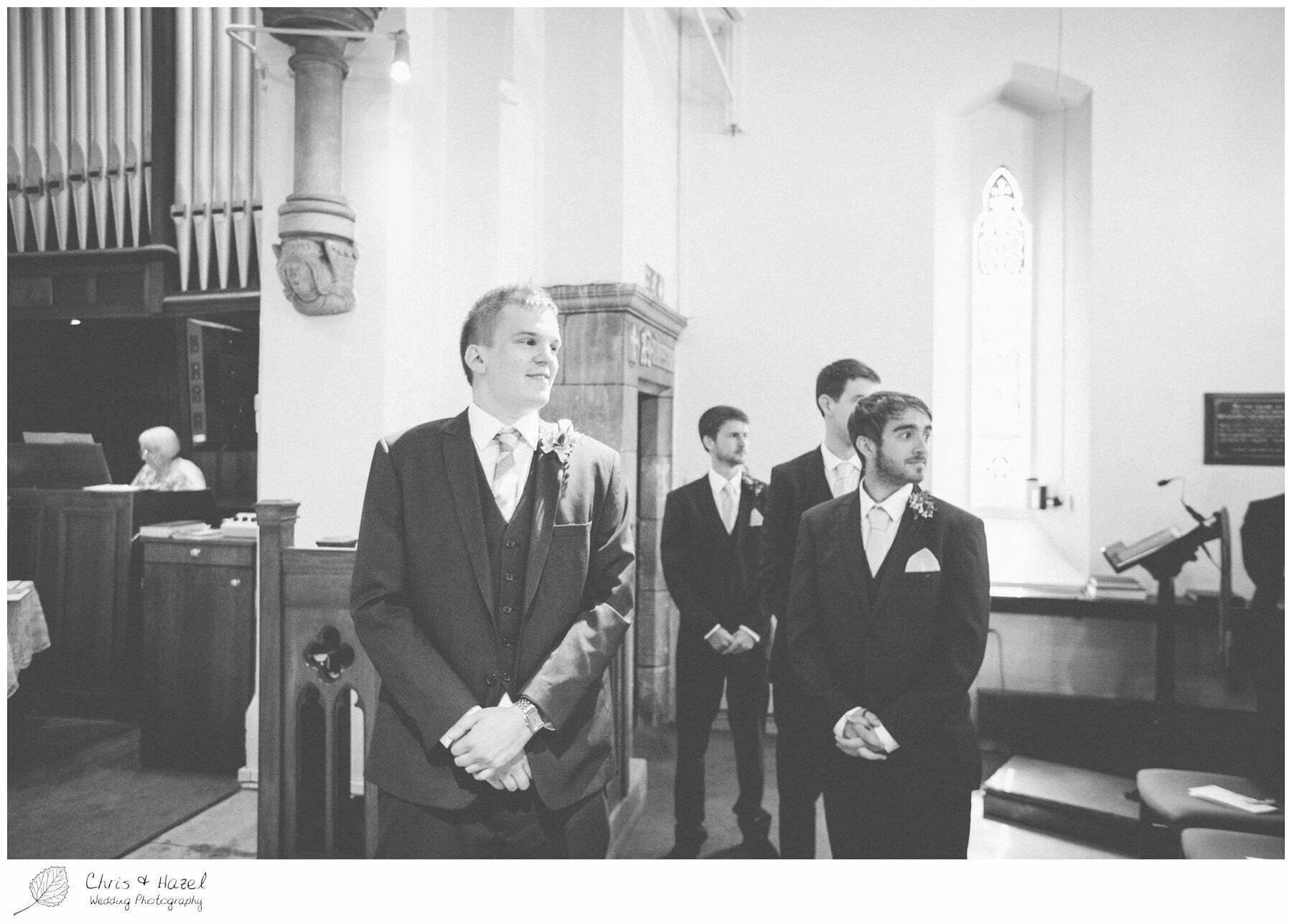 groom at altar, st marys church, wedding, south milford Wedding Photographer, the engine shed, Wedding Photography wetherby, Chris and Hazel Wedding Photography, stevie pollard, stevie standerline, paul standerline,
