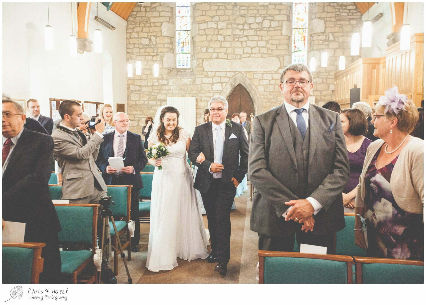bride and father walking down aisle, st marys church, wedding, south milford Wedding Photographer, the engine shed, Wedding Photography wetherby, Chris and Hazel Wedding Photography, stevie pollard, stevie standerline, paul standerline,