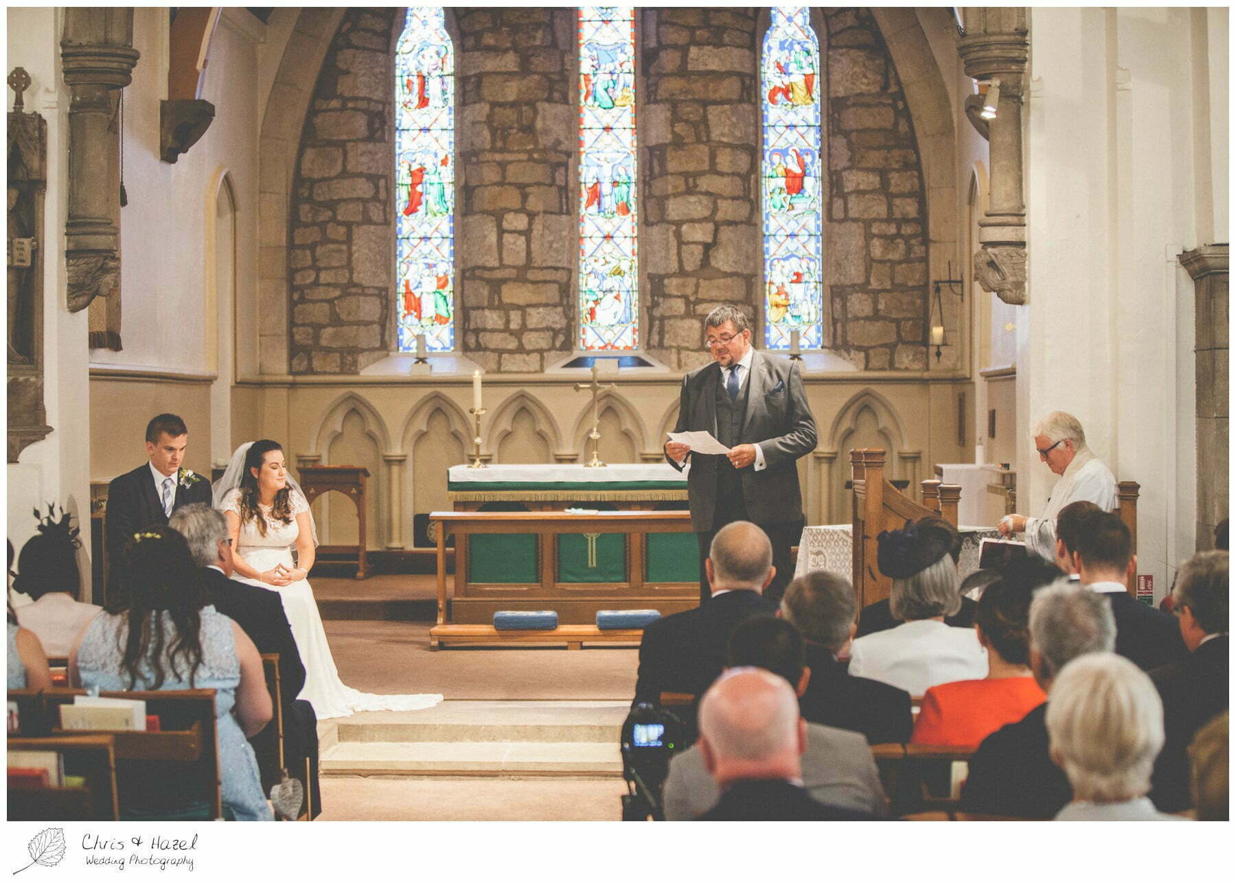 guest reading at altar, st marys church, wedding, south milford Wedding Photographer, the engine shed, Wedding Photography wetherby, Chris and Hazel Wedding Photography, stevie pollard, stevie standerline, paul standerline,