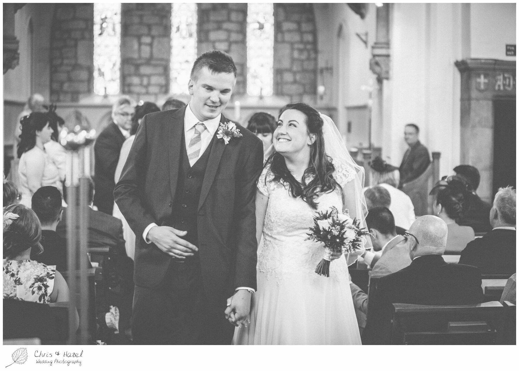 bride and groom walking down aisle, st marys church, wedding, south milford Wedding Photographer, the engine shed, Wedding Photography wetherby, Chris and Hazel Wedding Photography, stevie pollard, stevie standerline, paul standerline,