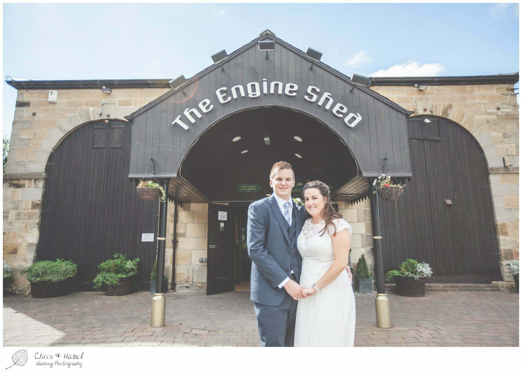 bride and groom outside the engine shed, Bride and groom portraits, bride and groom photographs, wedding, south milford Wedding Photographer, the engine shed, wetherby wedding venue, Wedding Photography wetherby, Chris and Hazel Wedding Photography, stevie pollard, stevie standerline, paul standerline,