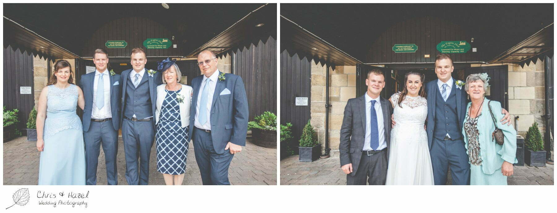 formal family photographs outside the engine shed, wedding, south milford Wedding Photographer, the engine shed, wetherby wedding venue, Wedding Photography wetherby, Chris and Hazel Wedding Photography, stevie pollard, stevie standerline, paul standerline,