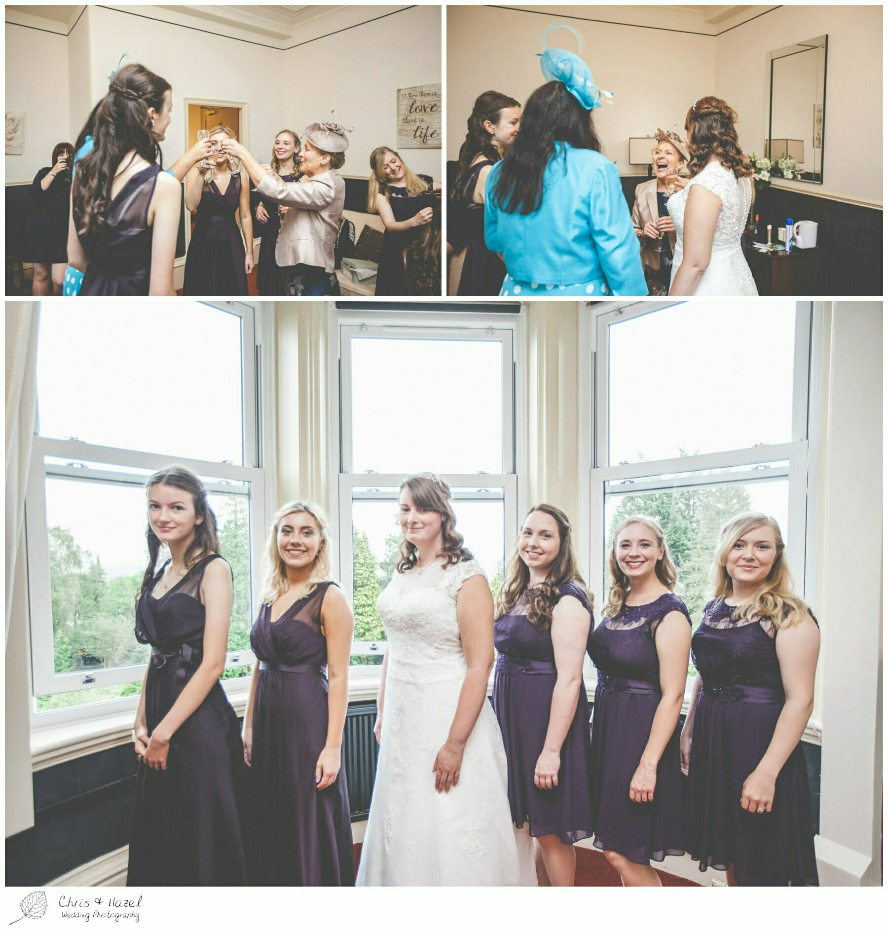 bride with bridesmaids, bride and bridesmaids formal photograph, Ilkley wedding photographer, Ilkley wedding photography, The Craiglands hotel wedding photography, west Yorkshire wedding photography, chris and hazel wedding photography, emily nunwick, sam nicholson, emily nicholson,