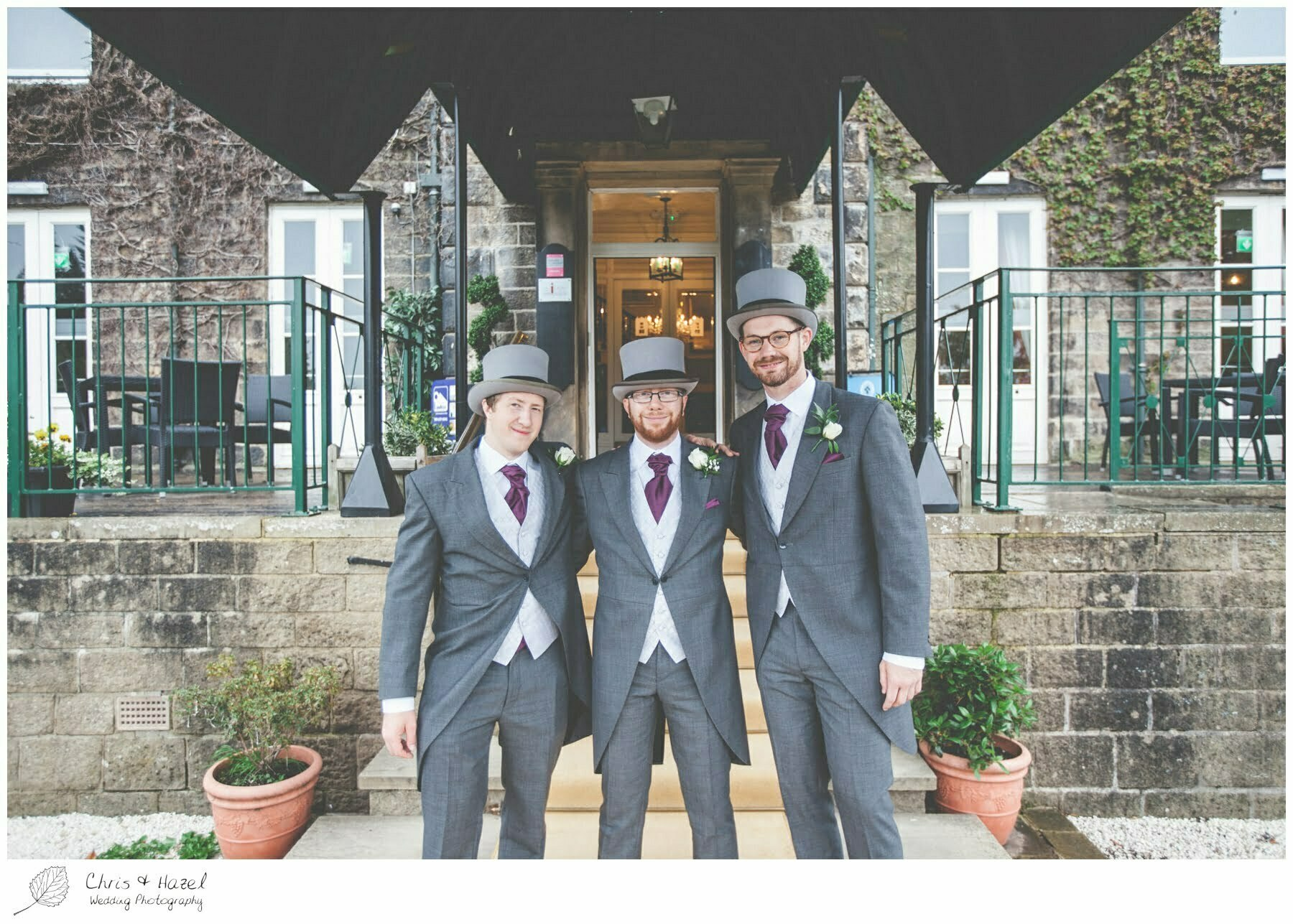 groom with ushers and best men outside wedding venue, Ilkley wedding photographer, Ilkley wedding photography, The Craiglands hotel wedding photography, west Yorkshire wedding photography, chris and hazel wedding photography, emily nunwick, sam nicholson, emily nicholson,