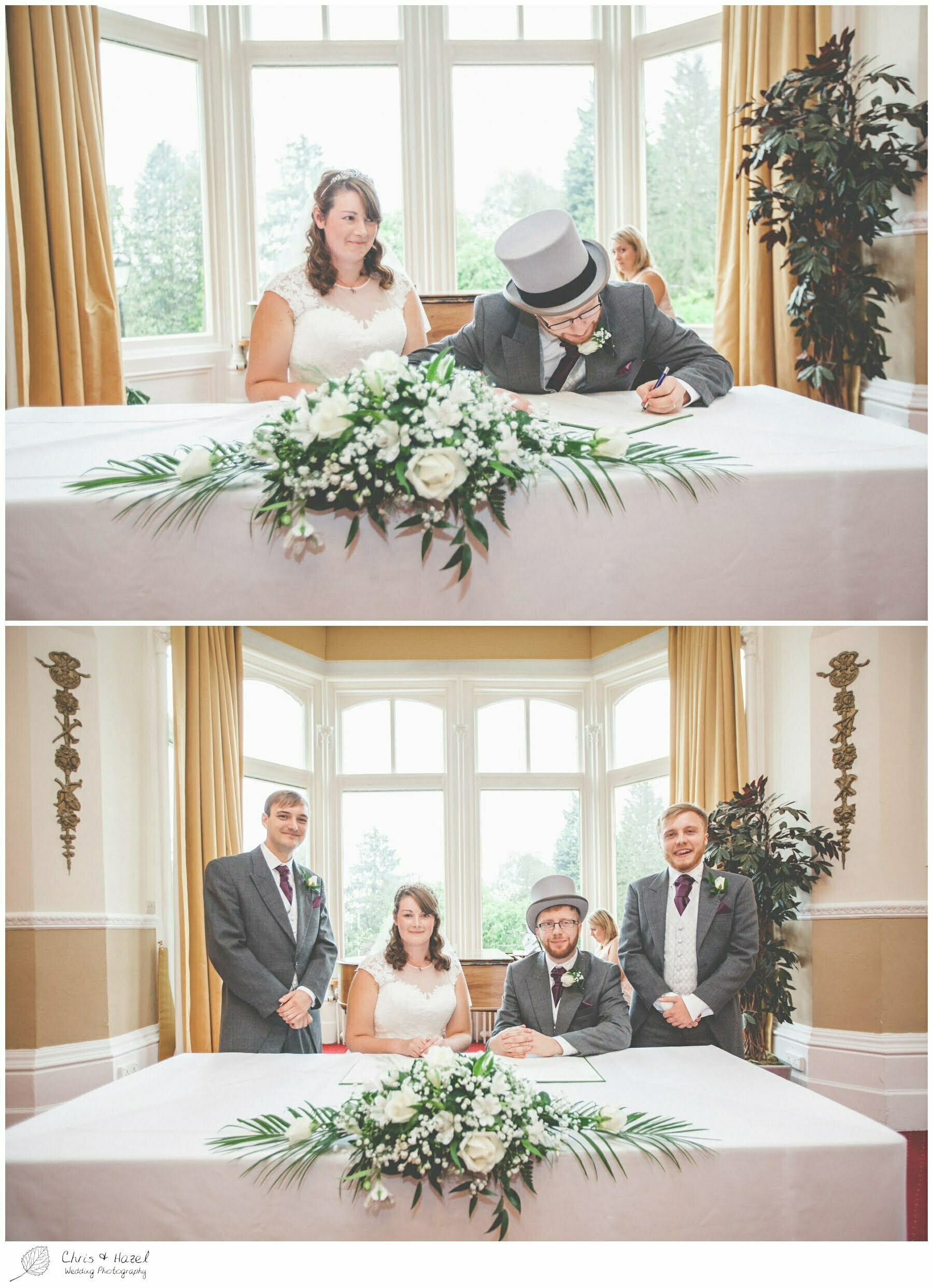 bride and groom signing wedding register, wedding ceremony, Ilkley wedding photographer, Ilkley wedding photography, The Craiglands hotel wedding photography, west Yorkshire wedding photography, chris and hazel wedding photography, emily nunwick, sam nicholson, emily nicholson,