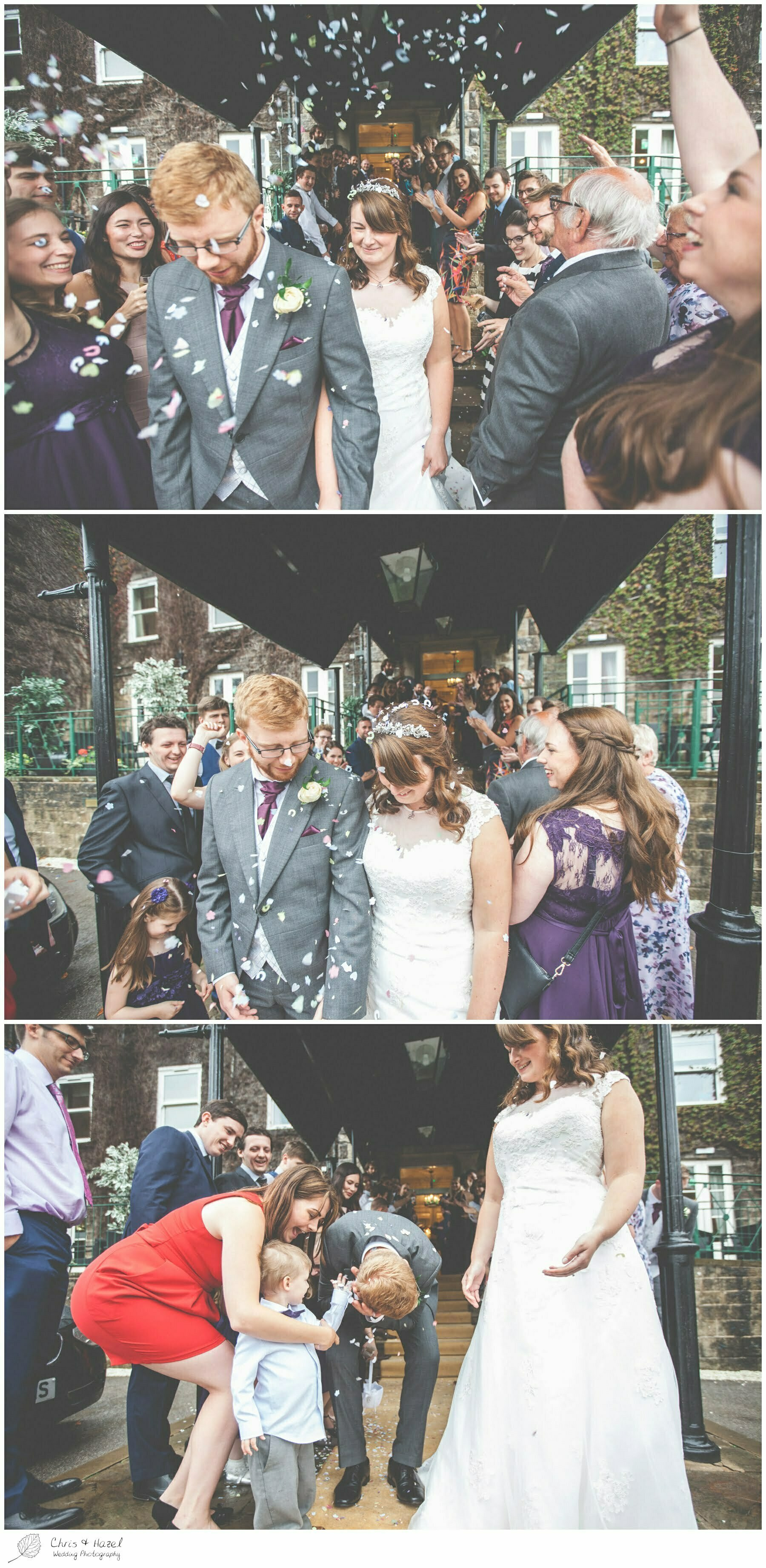 bride and groom covered in confetti, documentary wedding photography, Ilkley wedding photographer, Ilkley wedding photography, The Craiglands hotel wedding photography, west Yorkshire wedding photography, chris and hazel wedding photography, emily nunwick, sam nicholson, emily nicholson,