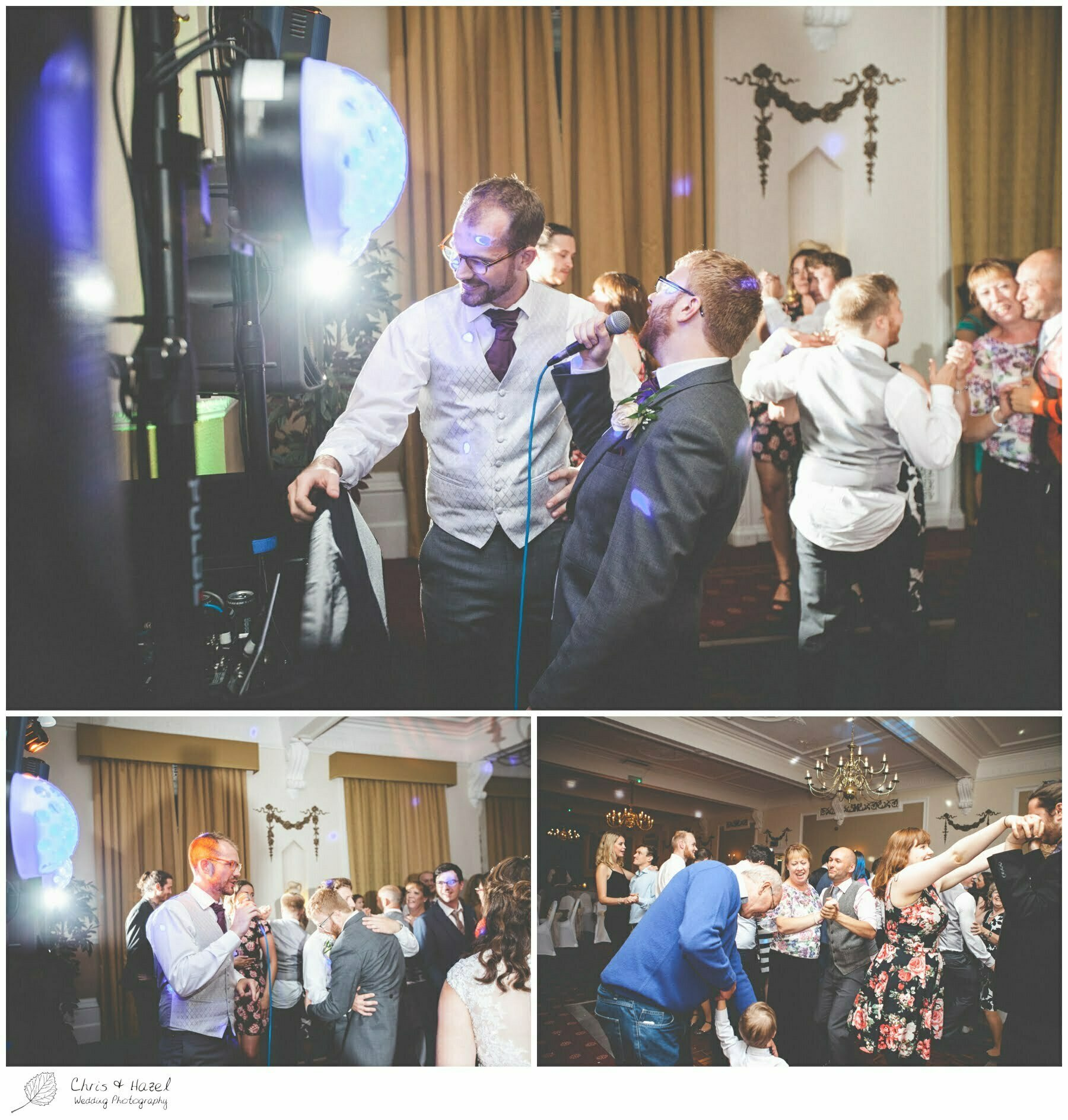 groom singing, best man singing, wedding singer, wedding guests dancing, wedding evening reception, wedding guests mingling, documentary wedding photography, Ilkley wedding photographer, Ilkley wedding photography, The Craiglands hotel wedding photography, west Yorkshire wedding photography, chris and hazel wedding photography, emily nunwick, sam nicholson, emily nicholson,