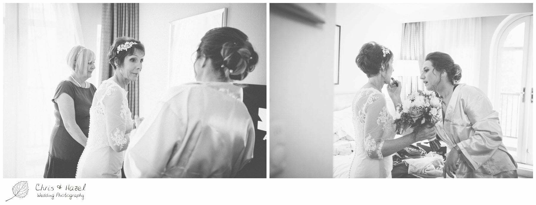 bride putting on lipstick, bridal preparations, documentary wedding photography, york hilton hotel, york hilton hotel wedding, york wedding photography, york wedding photographer, york wedding day, don hayes, , helen hayes, chris and hazel wedding photography, chris & hazel,