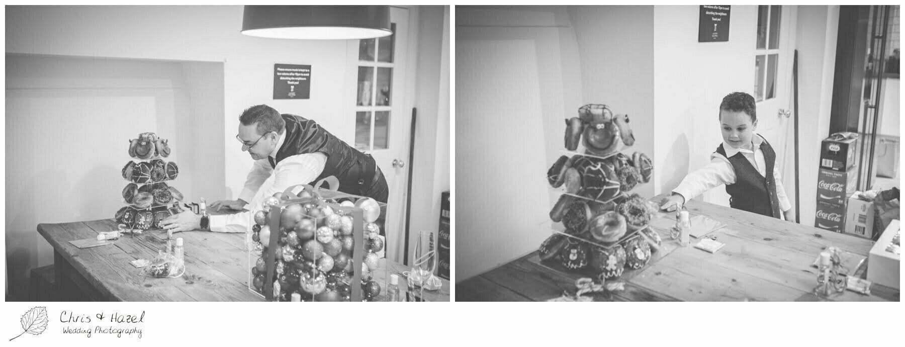 Groom getting ready preparations, Krispy Kreme wedding cake, donut wedding cake, Bath Wedding Photography, Roman Baths Wedding Photographer, Wedding in Bath, Bath Wedding Day, documentary wedding photography, Chris and Hazel Wedding Photography Bath, Sammie Singfield Scott Brown