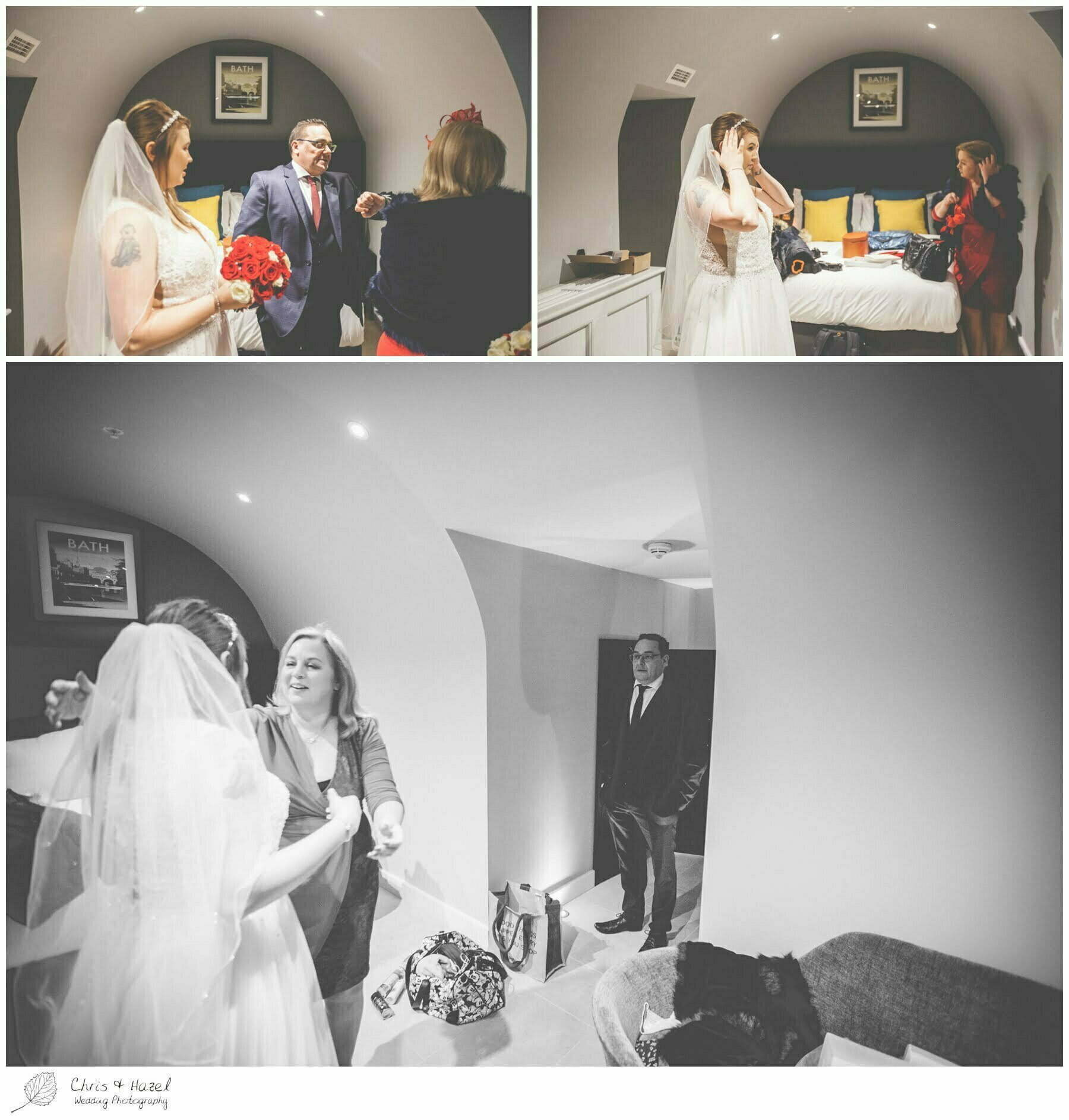 Father of bride, first look, Bride getting ready preparations, Bath Wedding Photography, Hotel indigo bath, Bath Wedding Photographer, Wedding in Bath, Bath Wedding Day, documentary wedding photography, Chris and Hazel Wedding Photography Bath, Sammie Singfield Scott Brown