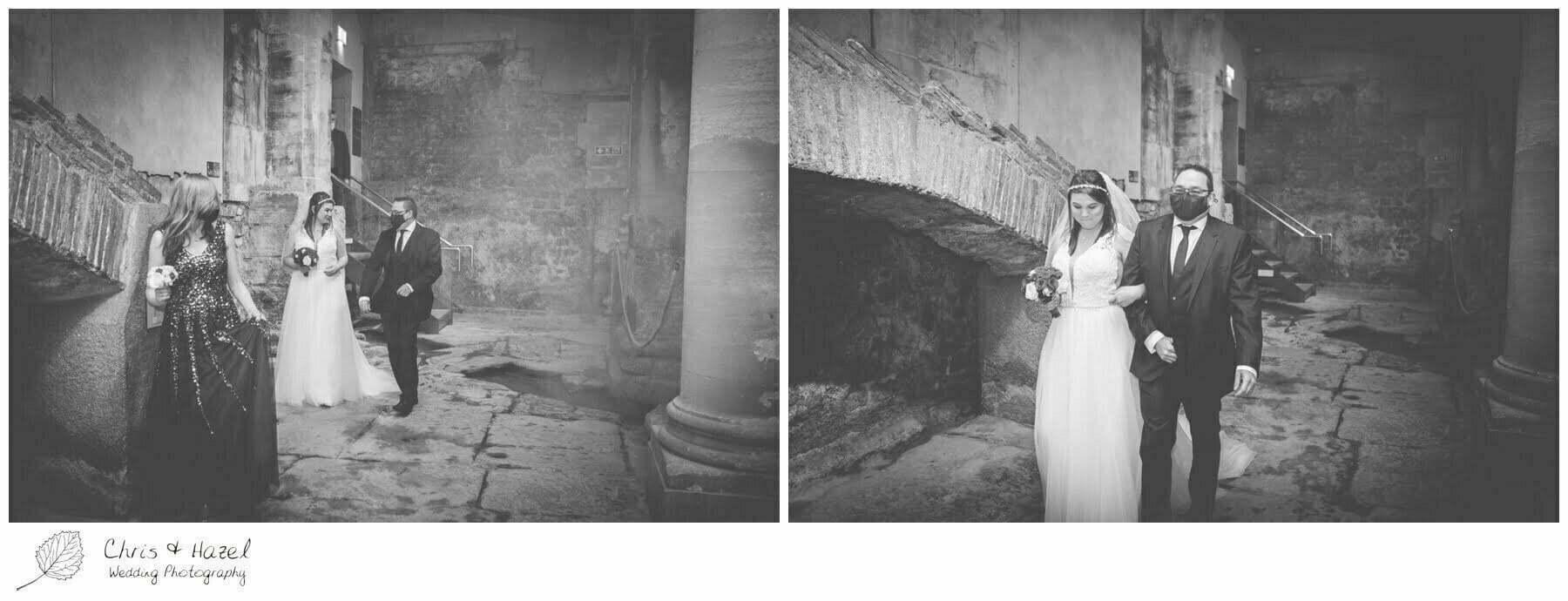 Bride walking down aisle Wedding Ceremony at Roman Baths Pump Rooms, The Roman Baths Wedding Photography, Roman Baths Wedding Photographer, Wedding in Bath, Bath Wedding Day, documentary wedding photography, Chris and Hazel Wedding Photography Bath, Sammie Singfield Scott Brown